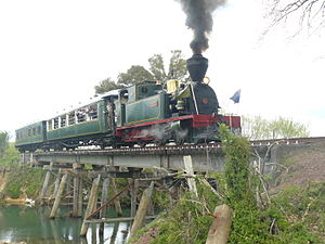 Bay of Islands Vintage Railway - Gabriel on Number 5 Bridge.JPG
