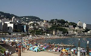 Atami, Shizuoka - Beach in Atami City with sea bathers