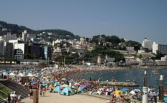 Atami - Beach in Atami City with sea bathers