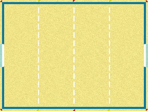 A beach soccer pitch. The dashed white lines are not marked on the pitch, and must be inferred by players and officials. Beachsoccer pitch.png