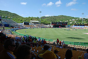 Daren Sammy Cricket Ground - The stadium from the side stands.