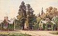 Bedřich Wachsmann - vstupní domky aleje zámeckého parku na Červeném Hrádku (1855).jpg