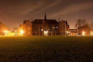 Bedford School - Bedford School's Main School Building at night, viewed from the Sports Field