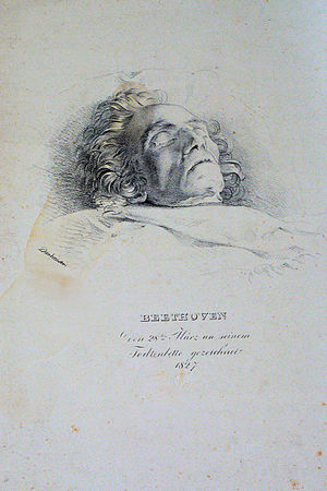 Große Fuge - Lithograph of Beethoven on his deathbed, by Josef Danhauser