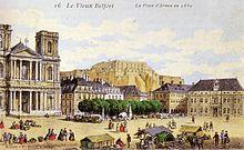 aquarelle représentant la place d'Armes dans le vieux Belfort en 1860