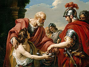 Belisarius - Bélisaire, by François-André Vincent (1776). Belisarius, blinded, a beggar, is recognised by one of his former soldiers