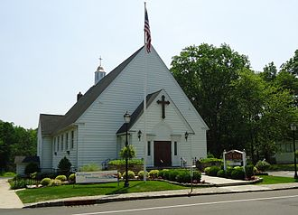 Berkeley Heights, New Jersey - Little Flower Catholic Church next to the Berkeley Heights Public Library