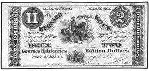 Île-à-Vache - Bernard Kock 2 Haitian dollar note