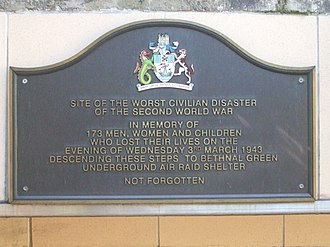 Bethnal Green - Plaque to the 1943 disaster