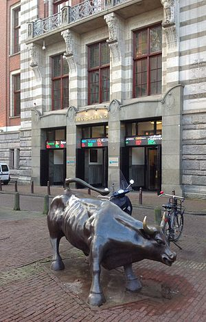 Euronext Amsterdam - Entrance of the stock exchange building and bull.
