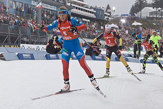 Biathlon - Olympic gold medalists Olga Zaitseva and Andrea Henkel at the World Cup pursuit race in Oberhof, 2013.