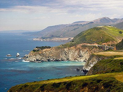 Big Sur June Coastline With Glimpse Of Bixby Bridge Highway