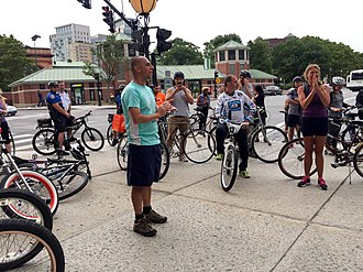 "Jorge Elorza - Mayor Elorza addresses riders before the start of his quarterly ""Bike the Night"" ride though Providence."