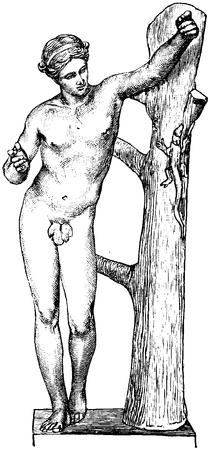 Bildhuggarkonst, Apollon Sanroktonos, af Praxiteles, Nordisk familjebok.png