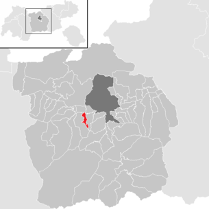 Location of the municipality of Birgitz in the Innsbruck-Land district (clickable map)