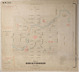 Christchurch Central City - Christchurch Black Map from March 1850