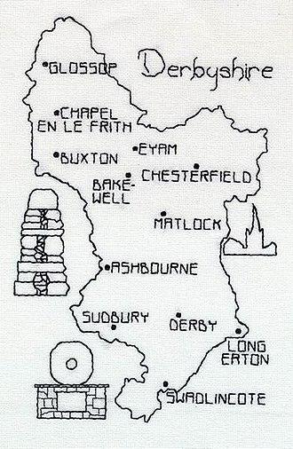Holbein stitch - Image: Blackwork Map Derbyshire