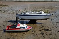 Boats at low tide in the harbour of Margate Kent England 1.jpg