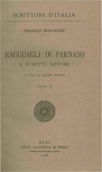 File:Boccalini, Traiano – Ragguagli di Parnaso e scritti minori, Vol. III, 1948 – BEIC 1772693.pdf