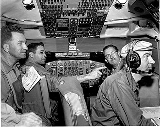 "Boeing 707 - Members of the joint FAA and Boeing team performing test flight on the Boeing 707 during certification process in April 15, 1958: From left to right: Joseph John ""Tym"" Tymczyszyn (FAA), Lew Wallich (Boeing), unknown, unknown"