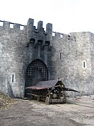 Burnt out castle gate and battering ram