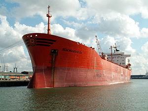 Bow Maasslot IMO 8010520 docked at Port of Rotterdam, Holland 06-Aug-2005.jpg