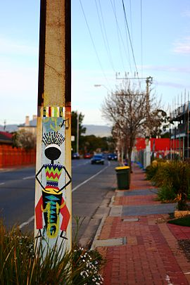Bowden, Adelaide - painted Stobie pole.JPG
