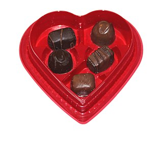 Public holidays in Botswana - Box of Valentine chocolates, typically sold around Valentine's Day