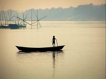 Boy on Boat, Ganges & Jalangi River conjunction, Mayapur.jpg