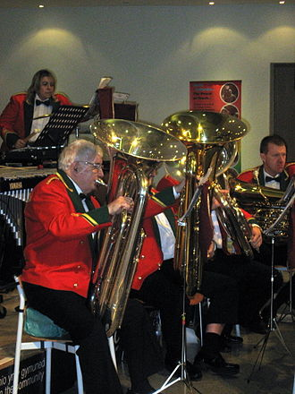 "Tuba - Tuba section (known as ""bass section"") in a British style brass band"