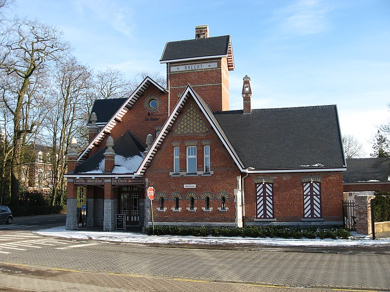 """Het voormalig buurtspoorwegstation gebouwd in 1910 in de """"art nouveau"""" stijl."""