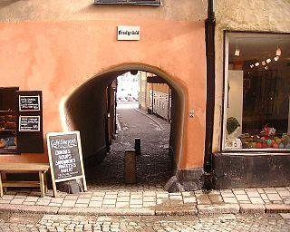 Bredgränd alley in Gamla stan, Stockholm, Sweden