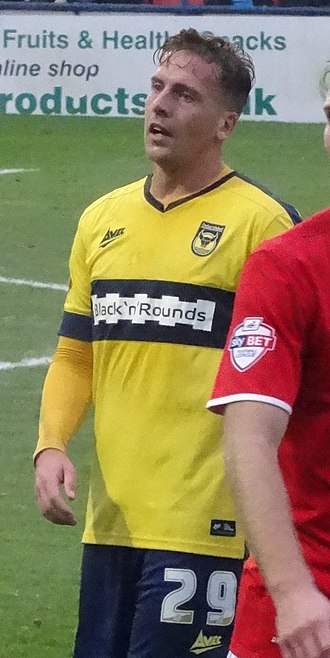 Brian Howard (footballer) - Howard playing for Oxford United in 2014