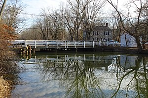 Griggstown, New Jersey - Bridge tender's house and bridge over the Delaware and Raritan Canal leading to Griggstown