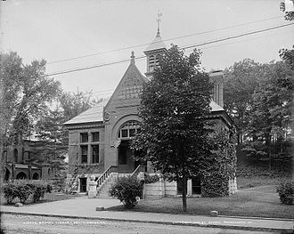 Brooks Memorial Library - The original Brooks Free Library which was demolished to make way for an expanded post office.