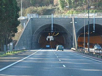 Brynglas Tunnels - The eastern portal: entrance to west bound tunnel on left, exit of east bound tunnel on right