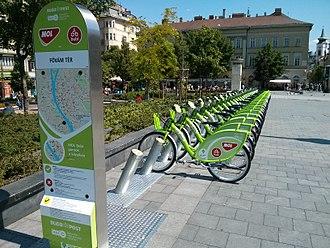 BuBi - MOL BuBi bicycles in a docking station at Fővám tér, Budapest, Hungary.