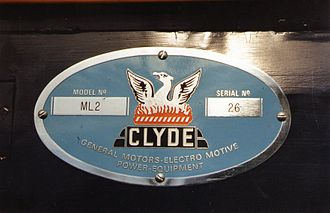 Victorian Railways B class (diesel) - Clyde Engineering reproduction Builders plate on B74's fuel tank valance. Incorrect numbers due to records error.