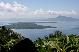 Bunaken National Park - Bunaken Island seen from Manado Tua Island.