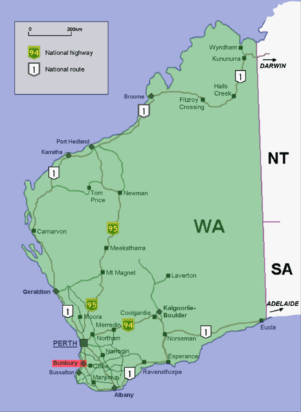 Delwedd:Bunbury location map in Western Australia.PNG