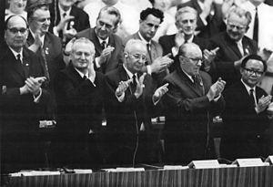 János Kádár - János Kádár (fourth in the first row) in the 8th Congress of the Socialist Unity Party of Germany (East Berlin, 1971).