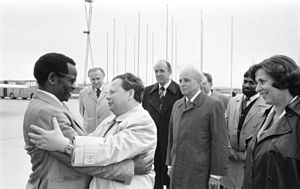 Oliver Tambo - Tambo being greeted on arrival in East Germany (1978)