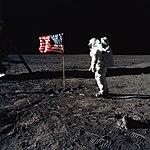 Buzz Aldrin and the U.S. Flag on the Moon (9460188482).jpg