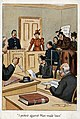 C.1910TWL.2000.151Postcard, printed, cardboard, polychrome, white border, black text, anti-suffrage cartoon depicting a suffragette being prosecuted in court, policeman in the witness box, group of (22678355017).jpg