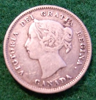 Nickel (Canadian coin) - Image: CANADA, QUEEN VICTORIA 1893 SILVER 5 CENT COIN a Flickr woody 1778a