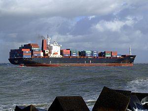 CMA CGM Elbe p9 approaching Port of Rotterdam, Holland 21-Jan-2007.jpg