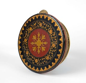 Rebana - Redep, a rebana from Palembang, South Sumatra, with its typical red, black, and gold color.