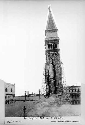 St Mark's Campanile - Fake photo purporting to show the collapse of the original Campanile in 1902. This picture became famous around the world.