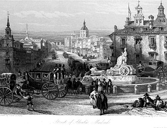 Calle de Alcalá - The street and the Fountain of Cybele depicted by David Roberts (c. 1838)