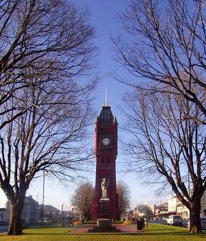Camperdown, Victoria - Manifold Street Camperdown looking east toward the clock tower and war memorial